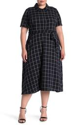 Short Sleeve Windowpane Printed Midi Dress (Plus Size)