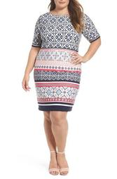 Print Shift Dress (Plus Size)