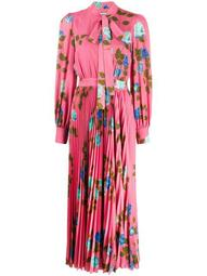 rose print pleated dress