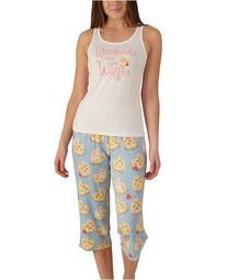 Plus Size Waffles Tank & Capri Pajama Set, Online Only