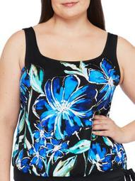 Maxine of Hollywood Womens Plus Size In Cool Bloom Blouson Tankini Top Style-MW0B067