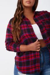 Plus Size Plaid Flannel Shirt