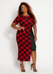 Houndstooth & Chambray Midi Dress