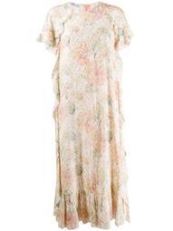 metallic dots floral dress