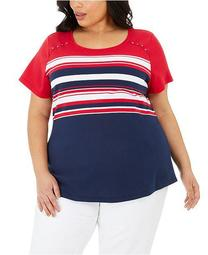 Plus Size Isabella Striped Top, Created for Macy's