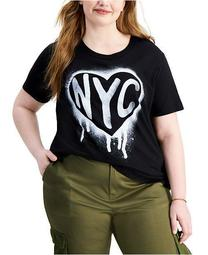 Trendy Plus Size NYC Stencil T-Shirt