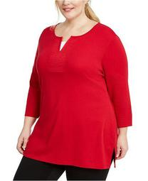 Plus Size Layered-Look Split-Neck Top, Created for Macy's