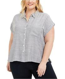 Plus Size Striped Camp Shirt, Created for Macy's