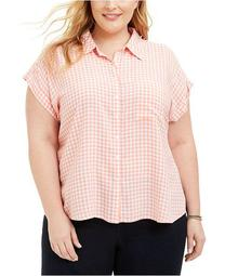 Plus Size Gingham Camp Shirt, Created for Macy's