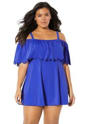 Fit 4 U Women's Plus Size Off-The-Shoulder Swimdress