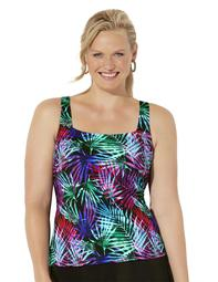Swimsuits For All Women's Plus Size Chlorine Resistant Square Neck Tankini Top
