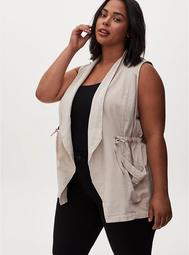 Light Taupe Textured Drawstring Drape Front Pocket Vest