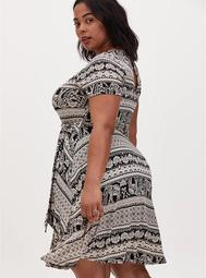Black Stripe Elephant Print Jersey Tie Front Skater Dress