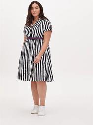 Beetlejuice Snake Stripe Black & White Belted Swing Dress