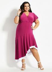 Colorblock Asymmetric Dress