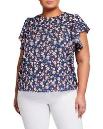 Plus Size Floral Print Ruffle-Sleeve Blouse