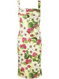 rose print charmeuse midi dress