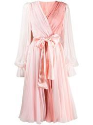 two-tone pleated wrap dress