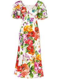 floral print ruffle sleeves dress