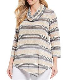 Plus Size Marled Slub Stripe Cowl Neck Asymmetrical Hem Sweater Top