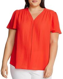 Flutter-Sleeve V-Neck Top