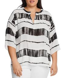 Split-Neck Shibori Striped Top
