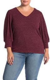 Balloon Sleeve Knit Sweater (Plus Size)