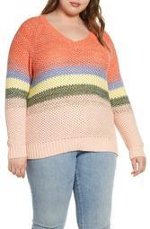 Ombré Stripe V-Neck Sweater