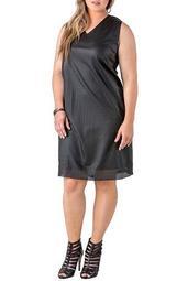 Tiffany Faux Leather V-Neck Dress (Plus Size)