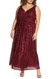 Sequin Knit Sleeveless Gown (Plus Size)