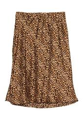 Leopard Print Pull On Side Slit Midi Skirt (Plus Size)