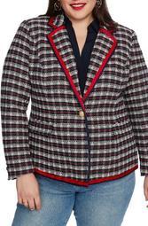 Satin Trim Plaid Tweed Blazer