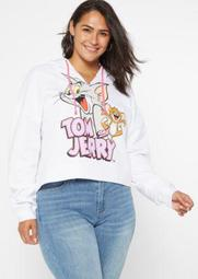Plus White Tom And Jerry Cropped Graphic Hoodie