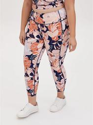 Navy & Peach Floral Crop Wicking Active Legging with Pockets