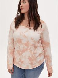 Light Pink Tie-Dye Terry Off Shoulder Active Sweatshirt