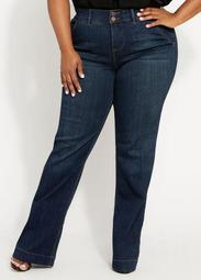 Mid Rise Wide Leg Denim Trousers
