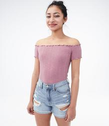 Ribbed Off-The-Shoulder Bodycon Top