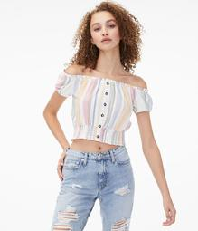 Striped Buttoned Off-The-Shoulder Crop Top