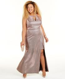 Trendy Plus Size Faux-Wrap Glitter Dress