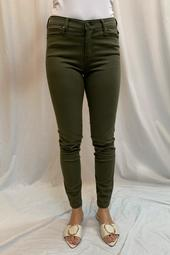 Abby Skinny Jeans in Stretch Peached Satin in Currant