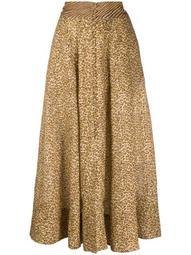 animal-print pleated skirt