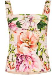gathered floral-print silk-blend top