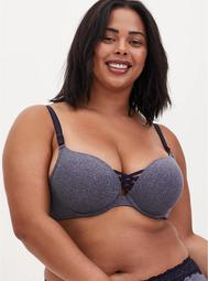 Heather Navy 360° Back Smoothing™ XO Push-Up Plunge Bra
