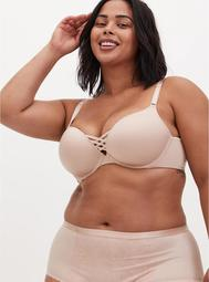 Beige Microfiber 360° Back Smoothing™ XO Push-Up Plunge Bra