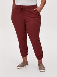 Crop Pull-On Drawstring Pant - Poplin Brick Red