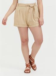 Self Tie Short Short - Linen Beige