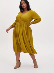Mustard Yellow Satin Button Tea Length Dress