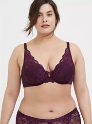 Grape Purple Lace XO Push-Up Plunge Bra