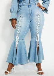 Lace-Up Flare Jean