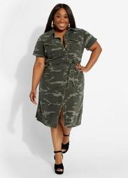 Belted Camo Denim Dress